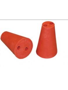 Raudonos gumos kamštis 35/60 mm dviejų skylių 9 mm