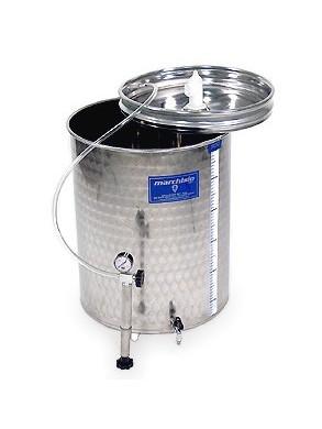 Nerūdijančio plieno fermentacijos talpykla su plaukiojančiu dangčiu ir lygiu dugnu