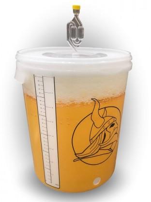 Plastikinis fermentacijos kibiras su kraneliu ir oro vožtuvu