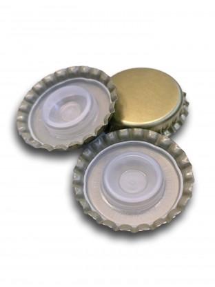 Metalinis karūninis kamštis 29 mm, auksinis, su stora tarpine