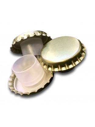 Metalinis karūninis kamštis 29 mm, auksinis su aukšta kapsule